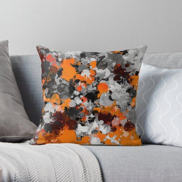 Orange and Grey Paint Splatter Throw Pillow