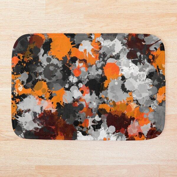 Orange and Grey Paint Splatter Bath Mat
