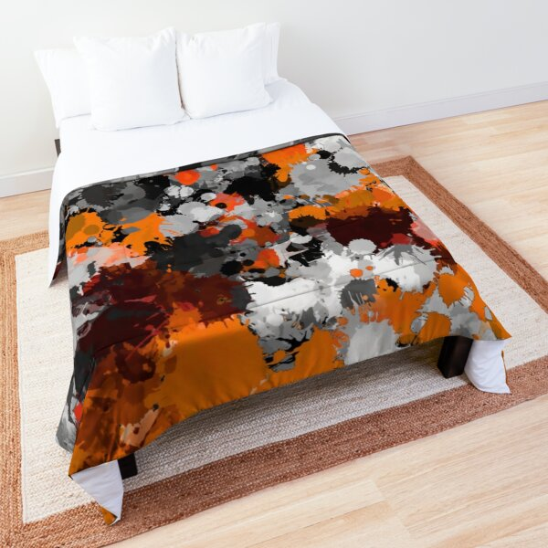 Orange and Grey Paint Splatter Comforter