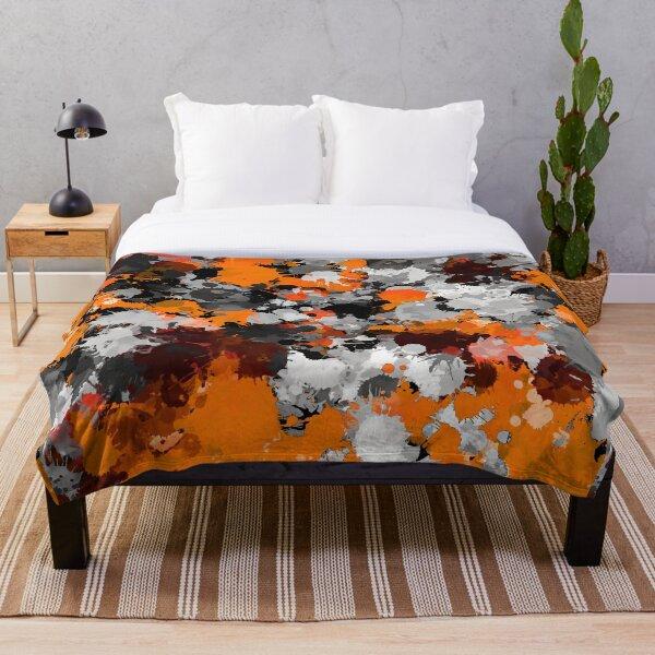 Orange and Grey Paint Splatter Throw Blanket