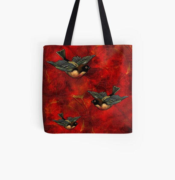 Lava Birds Vintage Red Bird Pattern All Over Print Tote Bag