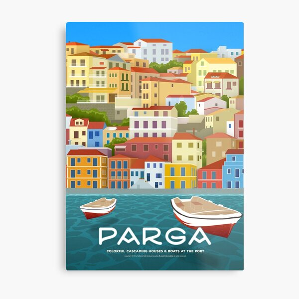 Colorful cascading houses & boats at the port, Parga (GR) Metal Print