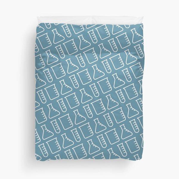 Chemistry Flask Pattern Blue Duvet Cover