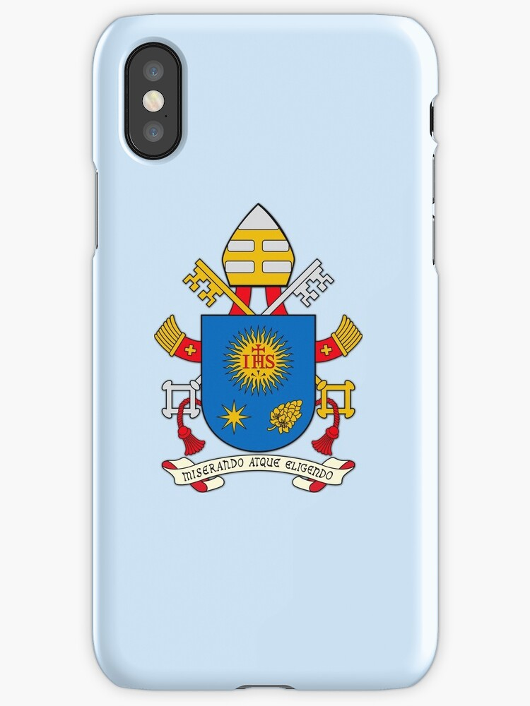 Papal Coat of Arms for Pope Francis on blue by JoeReiddesigns