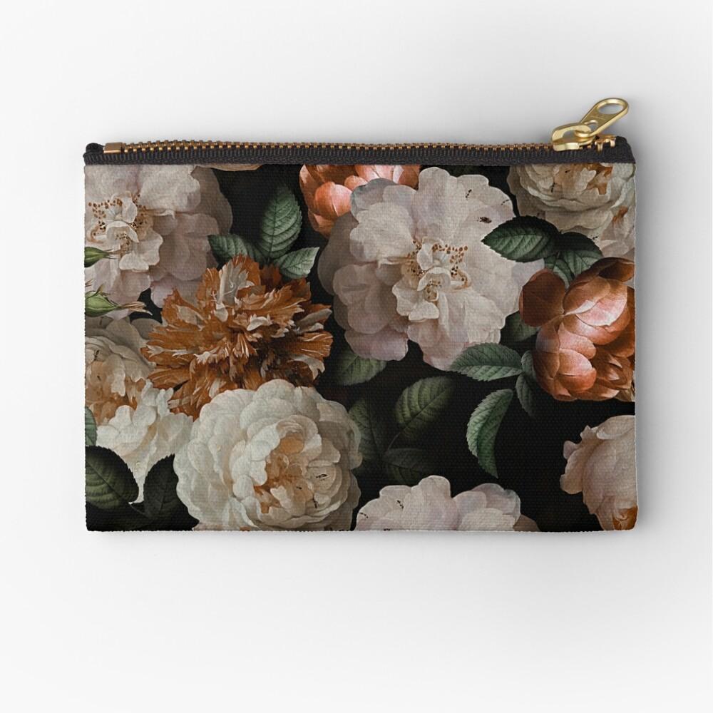 Antique Jan Davidsz. de Heem Lush Roses Flowers On Black Pattern Zipper Pouch
