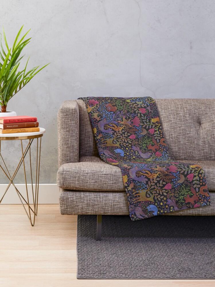 Alternate view of Jewel tone design in dark background Throw Blanket