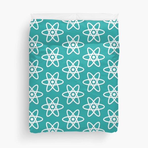 Physics Atom Pattern Teal Duvet Cover