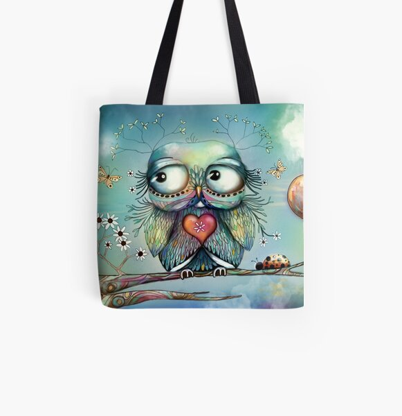 little wood owl All Over Print Tote Bag