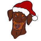 Red and Tan Doberman - Merry Christmas by rmcbuckeye