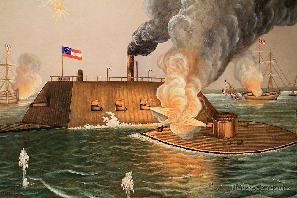 Battle of Hampton Roads by Thaddeus Zajdowicz