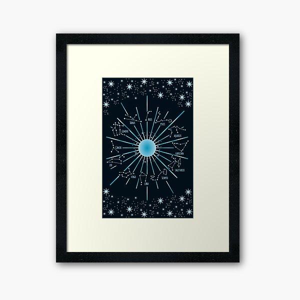 Zodiac Constellations in a Star Field Framed Art Print