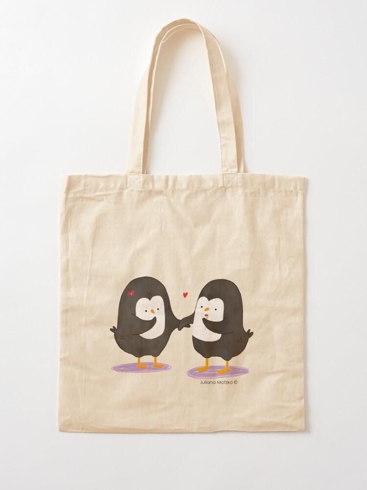 Alternate view of Lovely Penguin Couple Tote Bag