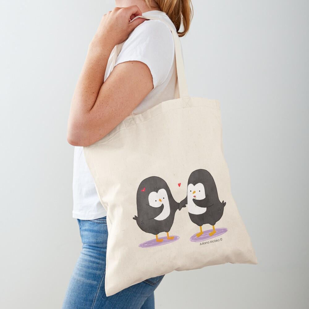 Lovely Penguin Couple Tote Bag