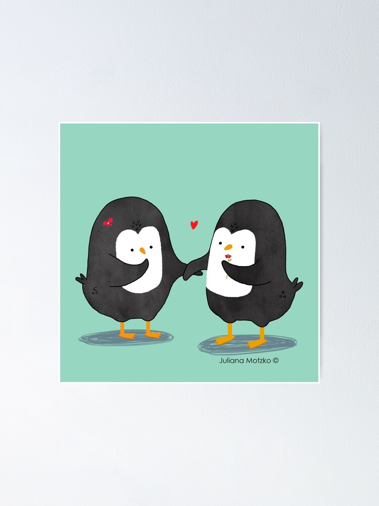 Alternate view of Lovely Penguin Couple Poster