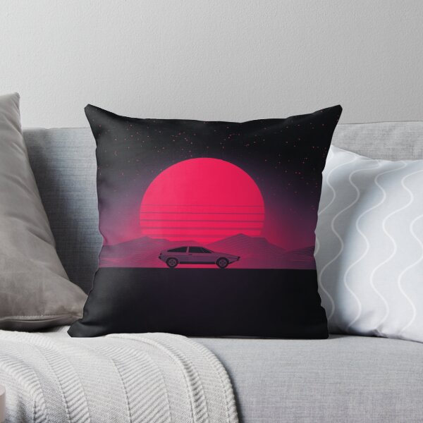 Sunset Future Car Throw Pillow