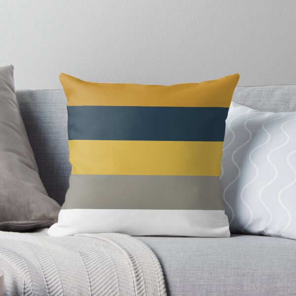 Light and Dark Mustard Yellow, Grey, White, and Navy Blue Stripes - Minimalist Color Block Pattern Throw Pillow
