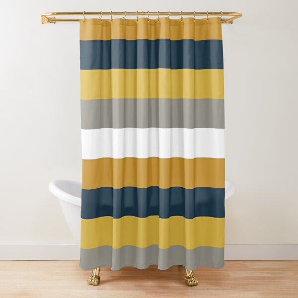 Light and Dark Mustard Yellow, Grey, White, and Navy Blue Stripes - Minimalist Color Block Pattern Shower Curtain