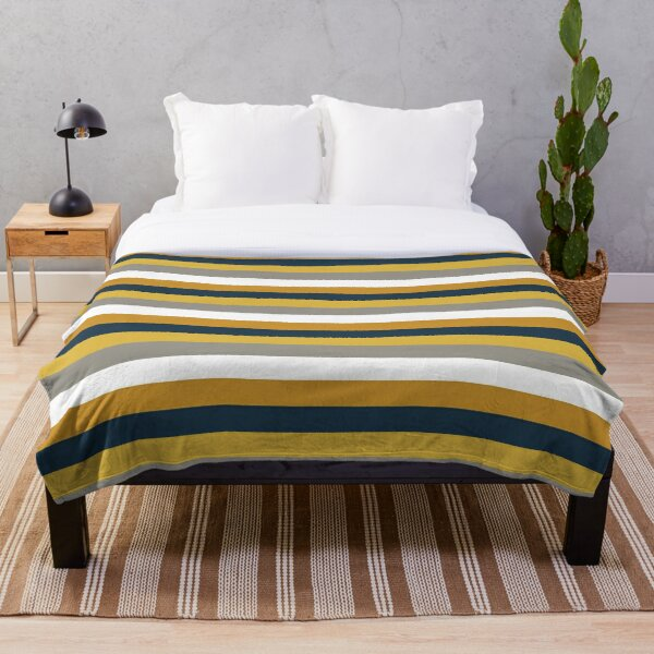Broad Stripes in Light and Dark Mustard Yellow, Grey, White, and Navy Blue  Throw Blanket