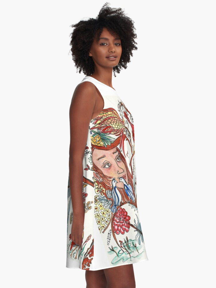 Alternate view of Girl with Birds and Feathers Watercolor A-Line Dress