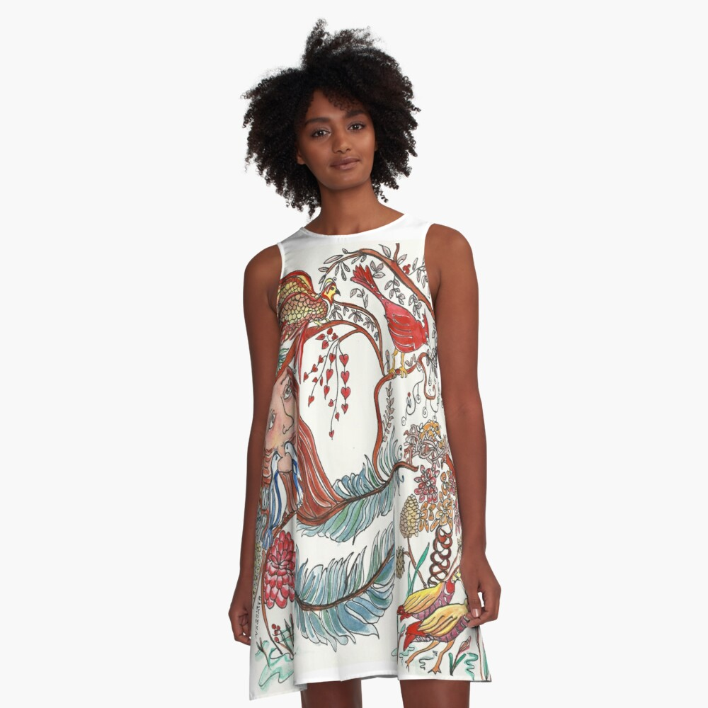 Girl with Birds and Feathers Watercolor A-Line Dress