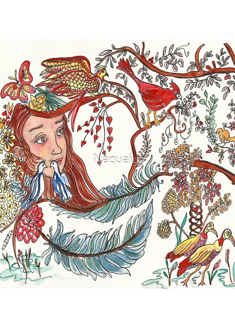 Girl with Birds and Feathers Watercolor by Naquaiya