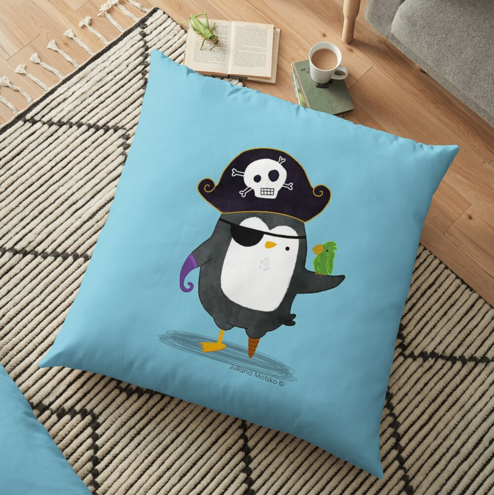 Pirate Penguin Floor Pillow