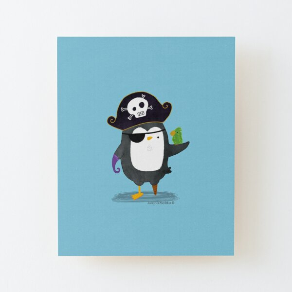 Pirate Penguin Wood Mounted Print