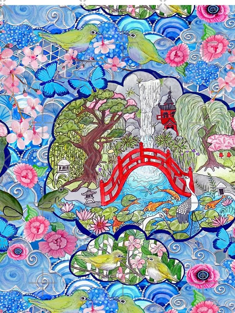 Japanese zen garden with cherry blossom, pagoda, bridge, koi pond and waterfall by MagentaRose