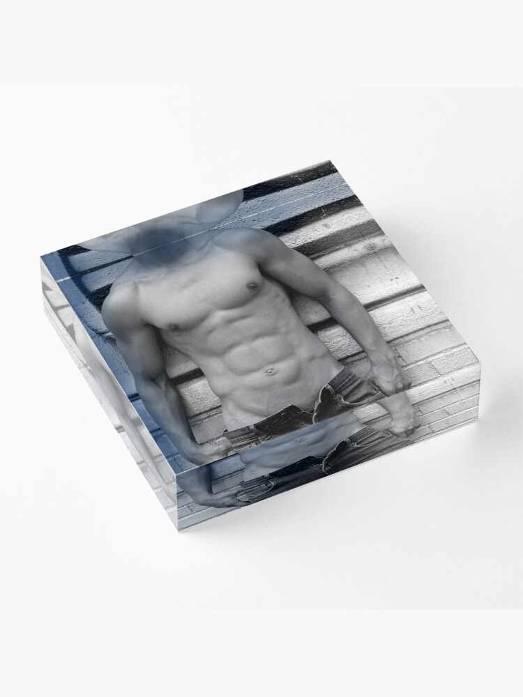 Alternate view of male abs  Acrylic Block