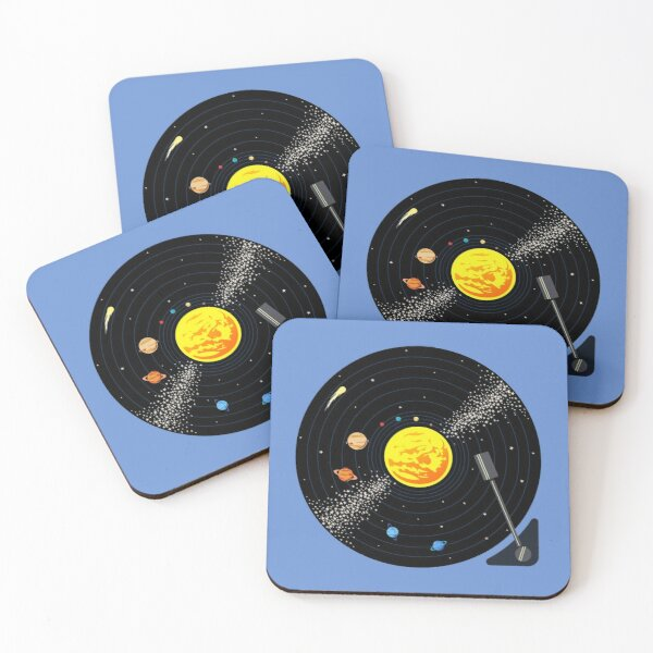 Solar System Vinyl Record Coasters (Set of 4)