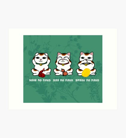 Three Wise and Lucky Neko Art Print