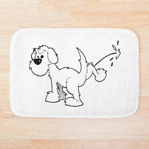 DOG - takin the piss, on white Bath Mat