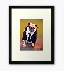 Pug as Frank from Men in Black Framed Print