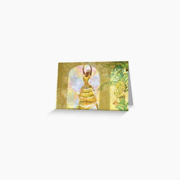 Cuban dancer in yellow banana dress Greeting Card