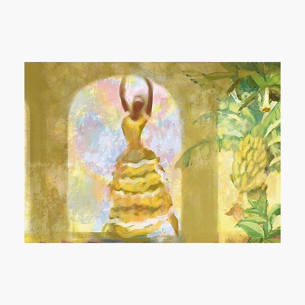Cuban dancer in yellow banana dress Photographic Print
