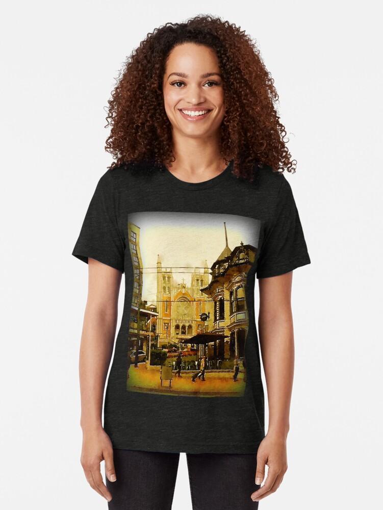 Alternate view of Street Scene, Wellington, New Zealand Tri-blend T-Shirt