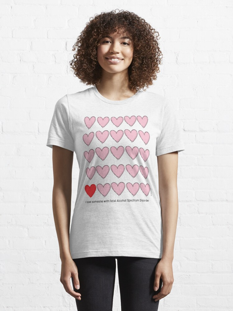 Alternate view of I love someone with FASD - black text Essential T-Shirt