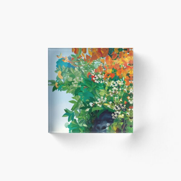 Gorilla among flowers and leaves in the Eden Garden Acrylic Block