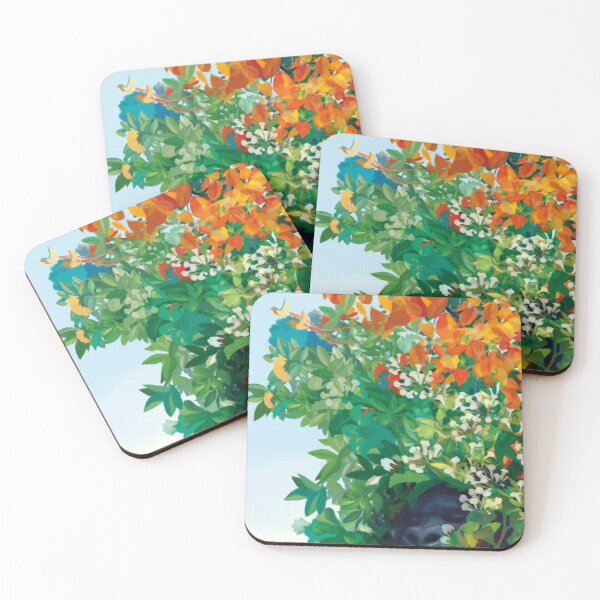 Gorilla among flowers and leaves in the Eden Garden Coasters (Set of 4)
