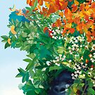 Gorilla among flowers and leaves in the Eden Garden by rebelot