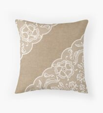 Lace Burlap Rustic Vintage Throw Pillow