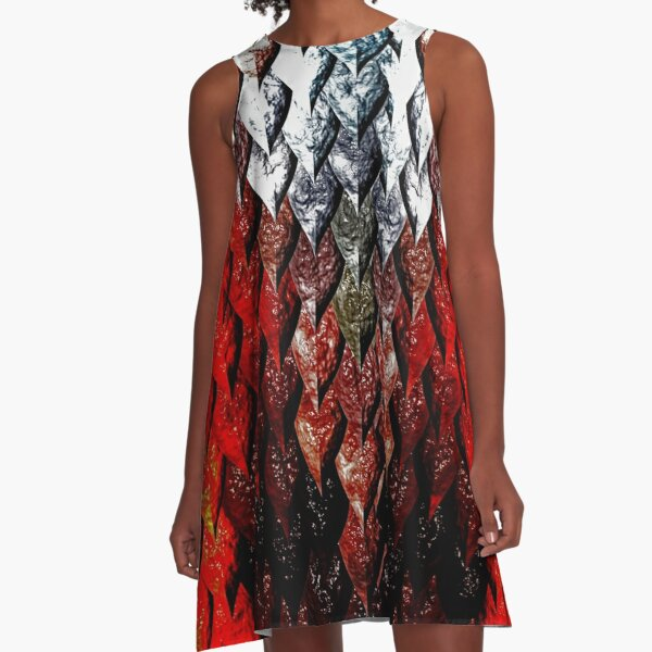 Red Flame Dragon  Serpent Scale Halloween Costume Art A-Line Dress