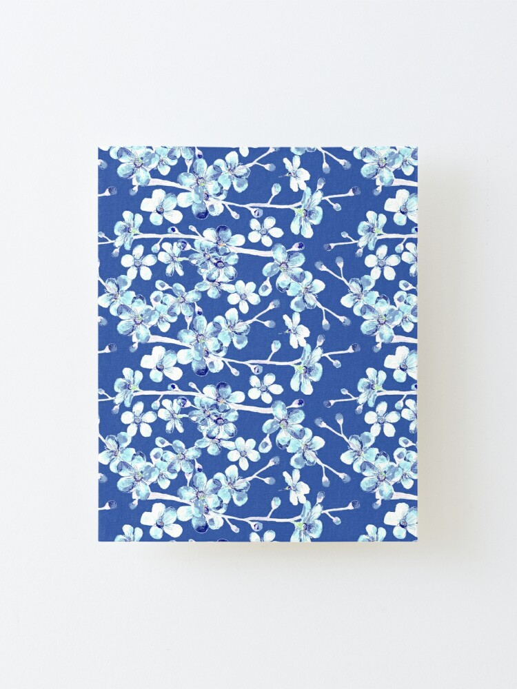 Alternate view of blue and white cherry blossom, Chinoiserie, Hamptons Style interiors. Mounted Print