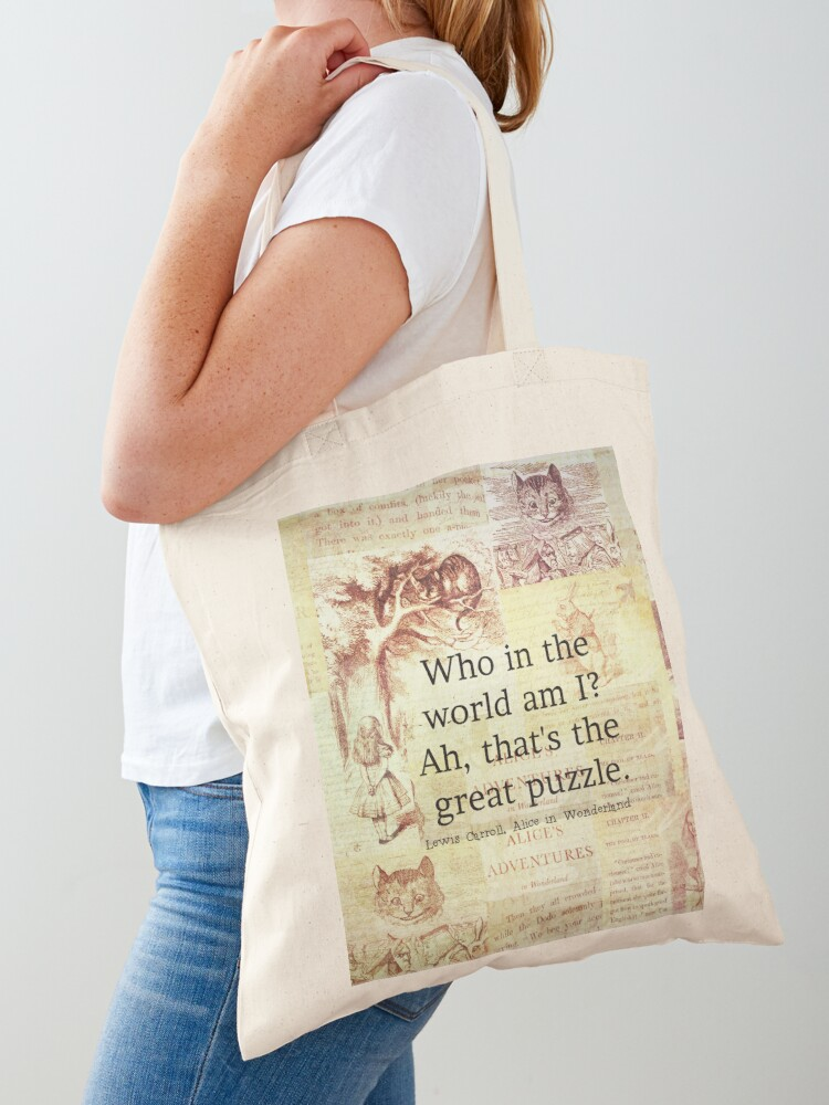 Alice/'s Adventures In Wonderland Vintage Cotton Canvas Tote Bag Cushion Cover