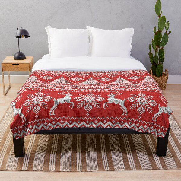 Red Christmas Knit Throw Blanket