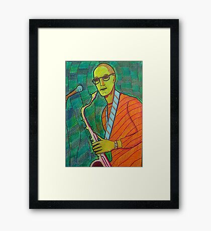 336 - THE SAX PLAYER - DAVE EDWARDS - COLOURED PENCILS - 2011 Framed Print