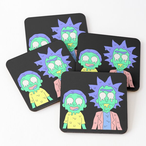 Rick and Morty melted Coasters (Set of 4)