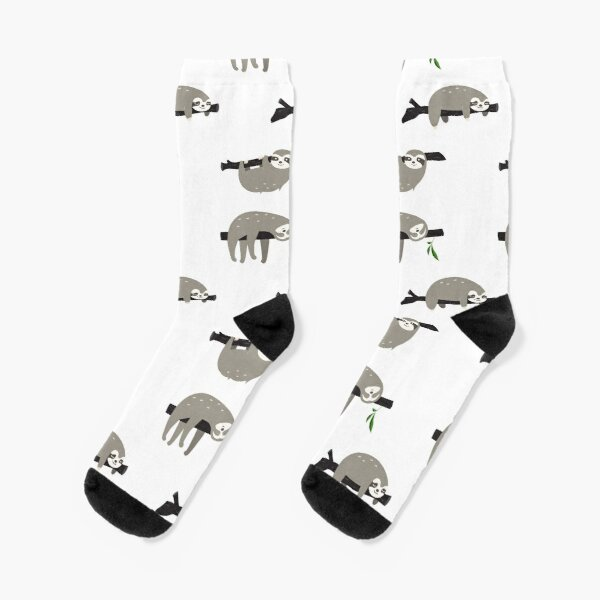 Mens Athletic Cushion Crew Sock Tropical With Dancing Sloths Long Sock Casual