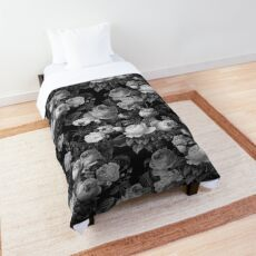 Deep dark floral in black and white Comforter