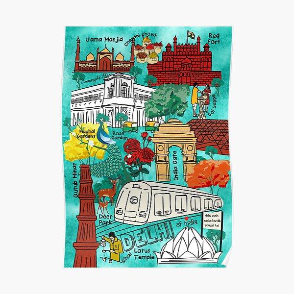 Hustling Bustling Colors of Delhi- Doodle Sketch Map Poster